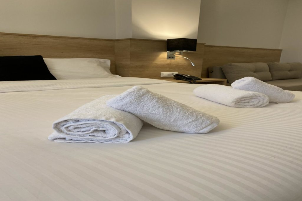 Double Room Bed Details 1 Marvel Deluxe Rooms Heraklion Crete