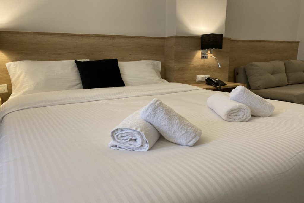 Double Room Bed Details 2 Marvel Deluxe Rooms Heraklion Crete