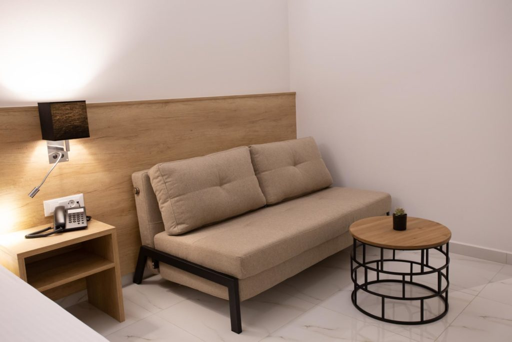 Double Room Sitting Area Sofa Marvel Deluxe Rooms Heraklion Crete
